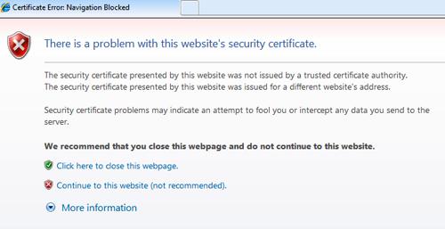 Certificate Warning Message