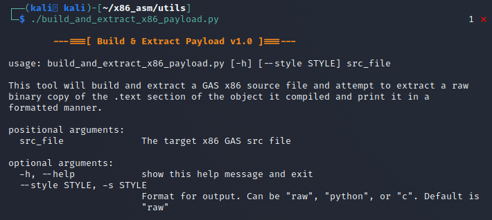 Help screen from the build and extract x86 payload script.