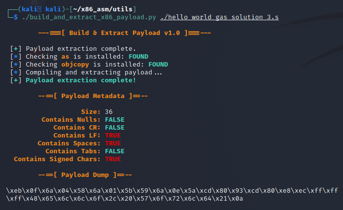 Example of the script being run with raw formatting on the payload dump.