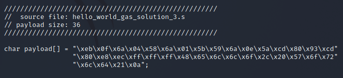 The build-and-extract payload python script's C-Style output format.