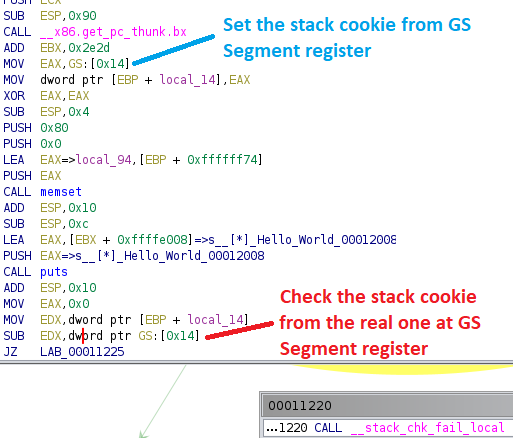 Stack cookie implementation by GCC
