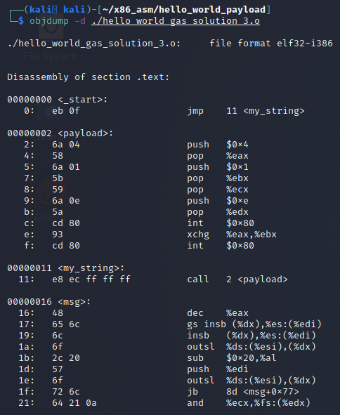 object dump of the object file compiled with gas that hasn't been linked yet to show our payload and the sections.