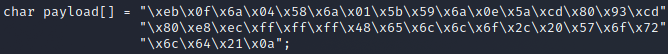 a C-styled char array buffer containing the payload code.