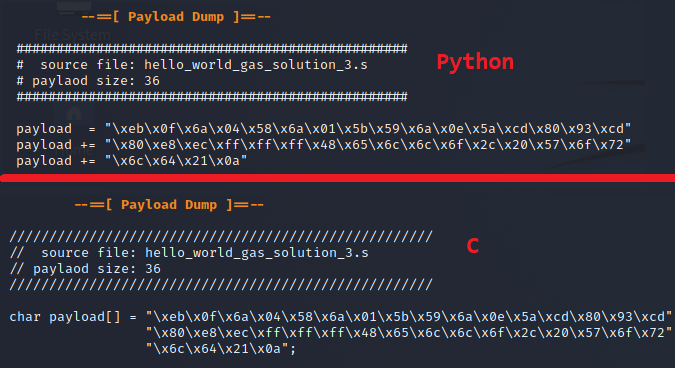 C and Python style format output of the payload dump from the script.